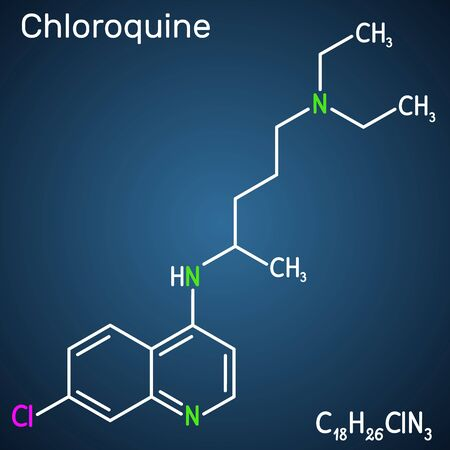 Chloroquine, chloraquine, aminoquinoline, C18H26ClN3 molecule. It is used for the treatment of malaria, hepatic amoebiasis, lupus erythematosus, rheumatoid arthritis, 2019-ncov. Structural chemical formula on the dark blue background. Vector