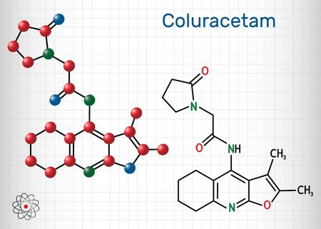 Coluracetam, BCI-540,  C19H23N3O3 molecule. It is is a nootropic agent of the racetam family. Structural chemical formula and molecule model. Sheet of paper in a cage. Vector illustration