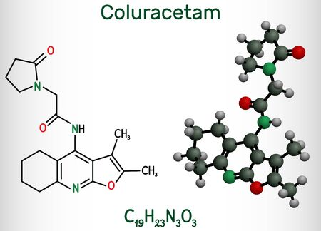 Coluracetam, BCI-540,  C19H23N3O3 molecule. It is is a nootropic agent of the racetam family. Structural chemical formula and molecule model. Vector illustration