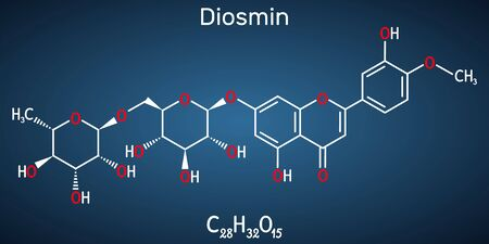 Diosmin, C28H32O15, flavonoid molecule. It is flavone glycoside of diosmetin, semisynthetic drug for the treatment of venous disease. Structural chemical formula on the dark blue background