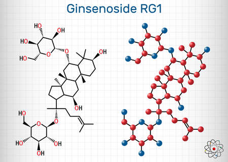 Ginsenoside Rg1 molecule. It is one of the major active components of ginseng, ameliorates cigarette smoke-induced airway fibrosis. Sheet of paper in a cage. Vector illustration