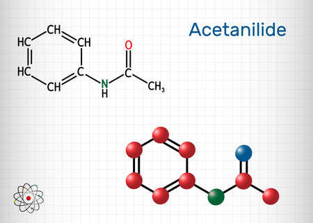 Acetanilide, C8H9NO, drug molecule. It has analgesic and fever-reducing properties. Structural chemical formula and molecule model. Sheet of paper in a cage. Vector illustration Ilustração