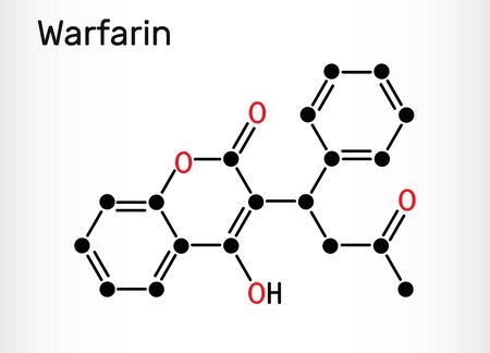 Warfarin, C19H16O4 molecule. Warfarin is an anticoagulant drug normally used to prevent blood clot formation. Skeletal chemical formula. Vector illustration
