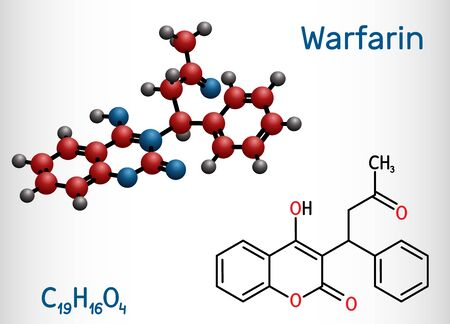 Warfarin, C19H16O4 molecule. Warfarin is an anticoagulant drug normally used to prevent blood clot formation. Structural chemical formula and molecule model. Vector illustration Illustration