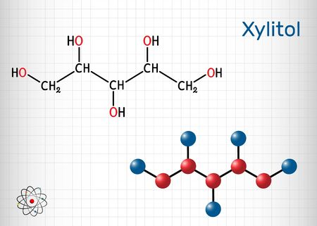 Xylitol,  C5H12O5 molecule. It is polyalcohol and sugar alcohol, an alditol. Is used as food additive E967 and sugar substitute.  Sheet of paper in a cage. Vector illustration