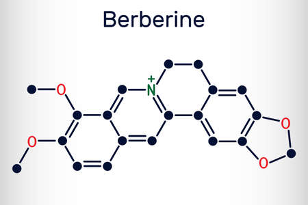 Berberine C20H18NO4, herbal alkaloid molecule. Structural chemical formula