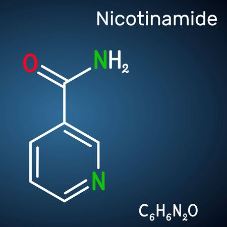 Nicotinamide, NAM, C6H6N2O  molecule. It is vitamin B3 found in food, used as a dietary supplement. Structural chemical formula on the dark blue background. Vector illustration