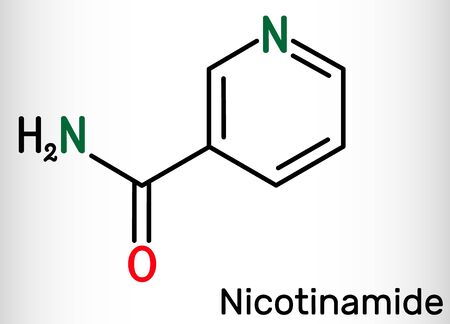 Nicotinamide, NAM, C6H6N2O  molecule. It is vitamin B3 found in food, used as a dietary supplement. Structural chemical formula. Vector illustration Illustration