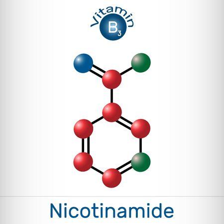 Nicotinamide, NAM, C6H6N2O  molecule. It is vitamin B3 found in food, used as a dietary supplement. Molecule model. Vector illustration