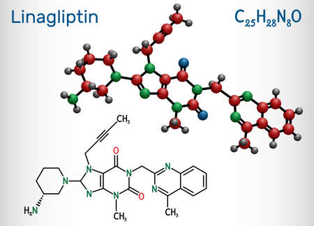 Linagliptin, C25H28N8O2 molecule. It is DPP-4 inhibitor, used for the treatment of type II diabetes. Structural chemical formula and molecule model. Vector illustration