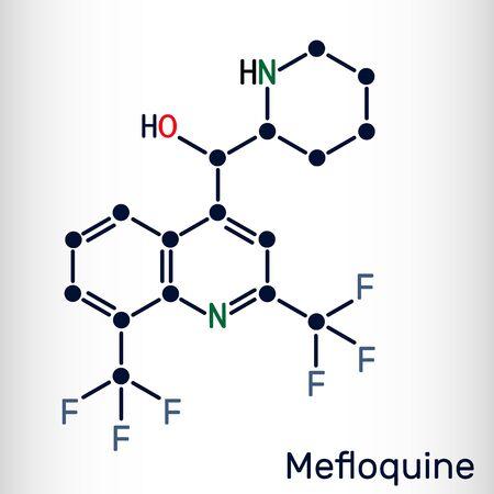 Mefloquine, C17H16F6N2O antimalarial drug molecule. It is medication used to treat malaria, coronavirus disease COVID-19. Skeletal chemical formula. Vector illustration