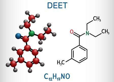 DEET, diethyltoluamide, N,N-Diethyl-meta-toluamide C12H17NO  molecule. It is active ingredient in insect repellents. Structural chemical formula and molecule model. Vector illustration