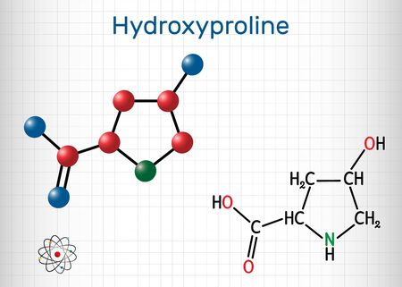 Hydroxyproline , Hyp, C5H9NO3 molecule. It is is a common proteinogenic amino acid and a major component of the protein collagen. Structural chemical formula and molecule model. Sheet of paper in a cage. Vector illustration 向量圖像