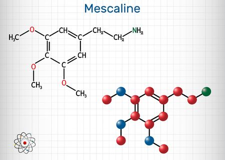 Mescaline molecule. It is hallucinogenic, psychedelic, phenethylamine alkaloid. Structural chemical formula and molecule model. Sheet of paper in a cage. Vector illustration
