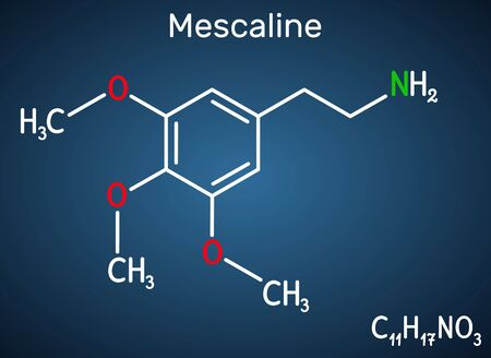 Mescaline molecule. It is hallucinogenic, psychedelic,  phenethylamine alkaloid. Structural chemical formula on the dark blue background. Vector illustration