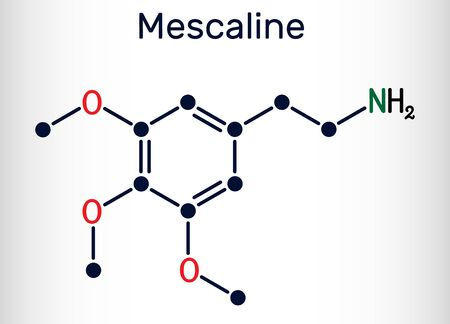 Mescaline molecule. It is hallucinogenic, psychedelic,  phenethylamine alkaloid. Structural chemical formula. Vector illustration