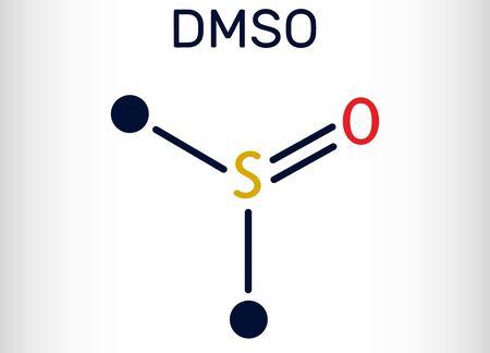 Dimethyl sulfoxide, DMSO, C2H6OS molecule. It is an organosulfur compound, polar aprotic solvent. Skeletal chemical formula. Vector illustration