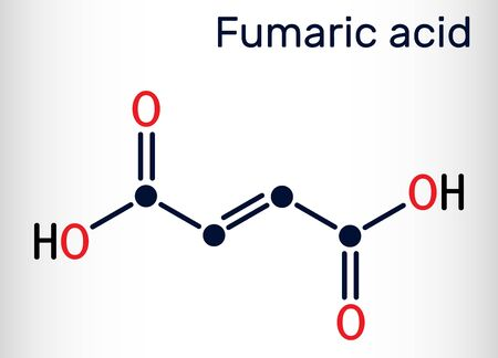 Fumaric acid, C4H4O4, molecule. It is unsaturated dicarboxylic acid, food additive E297. Skeletal chemical formula. Vector illustration