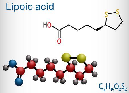 Lipoic acid, LA, ALA, alpha lipoic, thioctic acid, lipoate molecule. It is organosulfur compound, vitamin-like antioxidant, enzyme cofactor. Structural formula, molecule model. Vector illustration