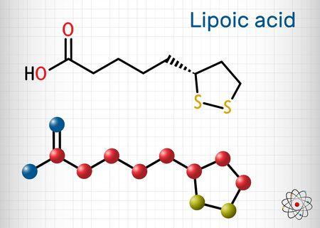 Lipoic acid, LA, ALA, alpha lipoic, thioctic acid, lipoate molecule. It is organosulfur compound, vitamin-like antioxidant, enzyme cofactor. Sheet of paper in a cage.Vector illustration