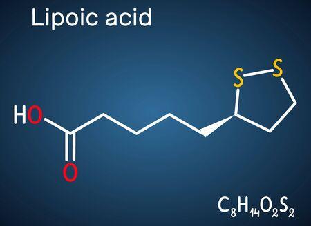 Lipoic acid, LA, ALA, alpha lipoic, thioctic acid, lipoate molecule. It is organosulfur compound, vitamin-like antioxidant, enzyme cofactor. Dark blue background. Vector illustration Ilustración de vector