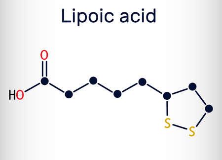 Lipoic acid, LA, ALA, alpha lipoic, thioctic acid, lipoate molecule. It is organosulfur compound, vitamin-like antioxidant, enzyme cofactor. Skeletal chemical formula. Vector illustration