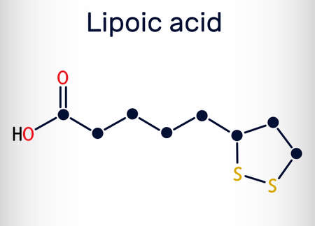 Lipoic acid, LA, ALA, alpha lipoic, thioctic acid, lipoate molecule. It is organosulfur compound, vitamin-like antioxidant, enzyme cofactor. Skeletal chemical formula. Vector illustration