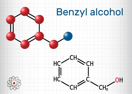 Benzyl alcohol, C7H8O molecule. It is aromatic alcohol, is used as local anesthetic and in perfumes, in cosmetic formulations. Sheet of paper in a cage. Vector illustration