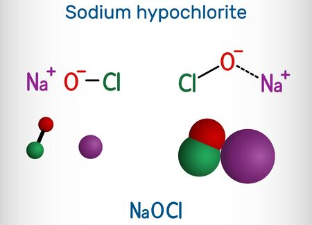 Sodium hypochlorite, NaOCl  molecule. It contains a sodium cation and a hypochlorite anion. It is used as a liquid bleach and disinfectant. Structural chemical formula and molecule model. Vector illustration