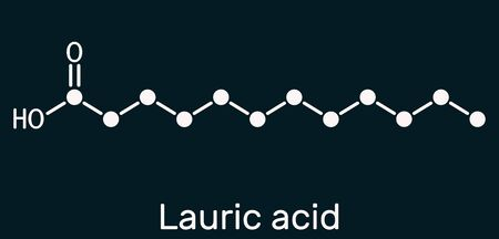 Lauric acid, dodecanoic acid, C12H24O2 molecule. It is a saturated fatty acid. Structural chemical formula on the dark blue background. Illustration Imagens