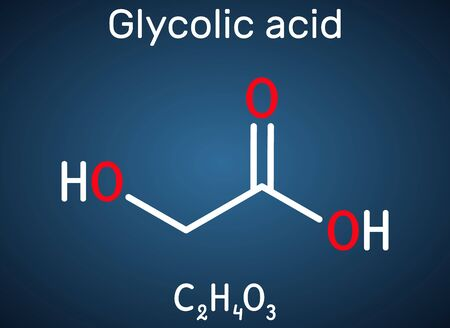 Glycolic acid, hydroacetic or hydroxyacetic acid, C2H4O3 molecule. It is alpha-hydroxy acid, AHA.  Structural chemical formula on the dark blue background. Vector illustration Stock Illustratie