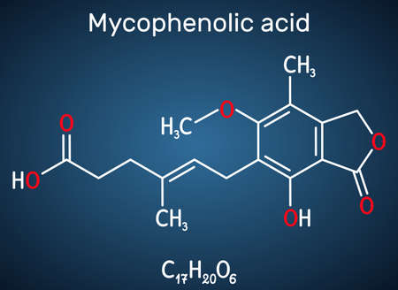 Mycophenolic acid, MPA, mycophenolate, C17H20O6 molecule. It is an immunosuppresant drug and potent anti-proliferative. Structural chemical formula on the dark blue background. Vector illustration