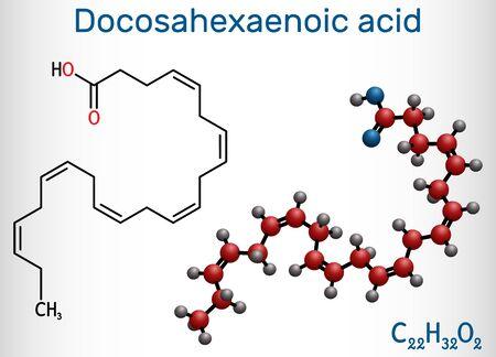 Docosahexaenoic acid, DHA, doconexent, cervonic acid molecule. It is omega-3 fatty acid. Structural chemical formula and molecule model. Vector illustration