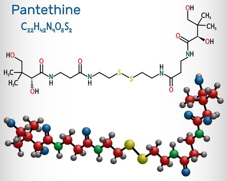 Pantethine, сo-enzyme pantethine, bis-pantethine molecule. It is is dimeric form of pantetheine. Is supplement for lowering blood cholesterol.  Structural chemical formula and molecule model. Vector illustration Çizim