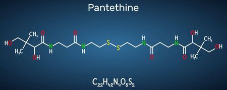 Pantethine, �o-enzyme pantethine, bis-pantethine molecule. It is is dimeric form of pantetheine. Is supplement for lowering blood cholesterol. Structural chemical formula on the dark blue background. Vector illustration
