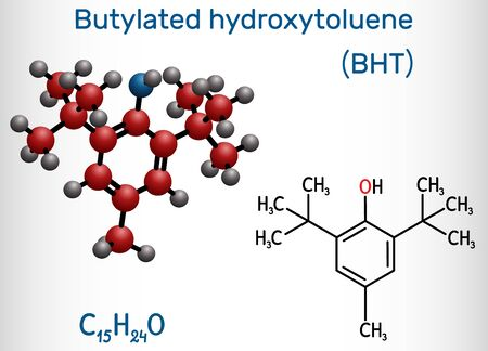 Butylated hydroxytoluene, BHT, dibutylhydroxytoluene molecule. It is lipophilic organic compound, antioxidant, food additive E321. Structural chemical formula and molecule model. Vector illustration