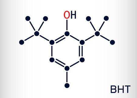 Butylated hydroxytoluene, BHT, dibutylhydroxytoluene molecule. It is lipophilic organic compound, antioxidant, food additive E321. Skeletal chemical formula. Vector illustration Vecteurs