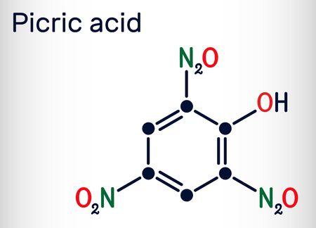 Picric acid ( 2,4,6-trinitrophenol, TNP, C6H3N3O7) molecule. It has a role as an explosive, an antiseptic drug. Skeletal chemical formula. Vector illustration  Illustration