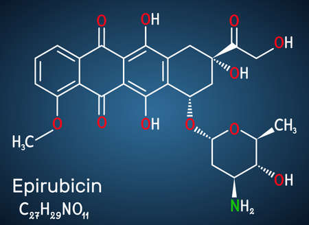 Epirubicin molecule. It is anthracycline drug for chemotherapy. Structural chemical formula on the dark blue background. Vector illustration