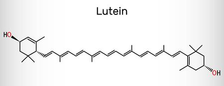 Lutein, xanthophyll molecule. It is type of carotenoid, food additive E161b. Structural chemical formula. Vector illustration