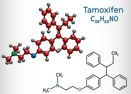 Tamoxifen, C26H29NO molecule. It is antineoplastic nonsteroidal antiestrogen, used in the treatment and prevention of cancer. Structural chemical formula and molecule model. Vector illustration Vector Illustration