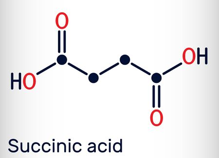 Succinic acid, butanedioic acid, C4H6O4 molecule. It is food additive E363.The anion, succinate, is component of citric acid or TCA. Skeletal chemical formula. Vector illustration