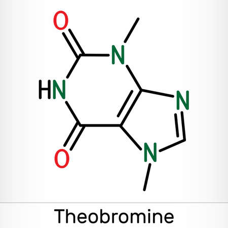 Theobromine, dimethylxanthine, purine alkaloid C7H8N4O2 molecule. It is xanthine alkaloid in the cacao bean. Skeletal chemical formula. Illustration