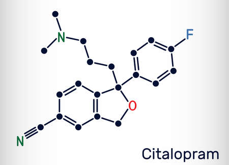 Citalopram, C20H21FN2O molecule. It is antidepressant, selective serotonin reuptake inhibitor (SSRI) class, is widely used to treat symptoms of depression. Skeletal formula.Vector illustration