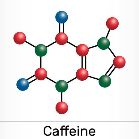 Caffeine, purine alkaloid, psychoactive drug molecule. Paper packaging for drugs. Vector illustration