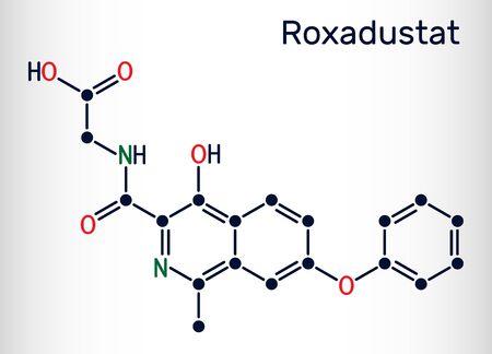Roxadustat molecule. It is prolyl hydroxylase inhibitor, stimulates production of hemoglobin and red blood cells. Skeletal chemical formula. Vector illustration Иллюстрация