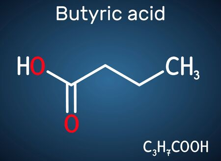 Butyric acid, butanoic acid molecule. Butyrates or butanoates are salts and esters . Structural chemical formula on the dark blue background. Vector illustration