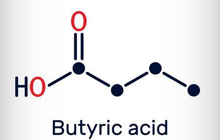 Butyric acid, butanoic acid molecule. Butyrates or butanoates are salts and esters. Skeletal chemical formula. Vector illustration