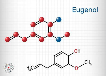 Eugenol, clove essential oil molecule. Is used as flavoring for foods and teas and as herbal oil to treat toothache. Structural chemical formula and molecule model. Sheet of paper in a cage.Vector illustration