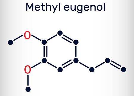 Methyl eugenol, allylveratrol, methyleugenol molecule. It is phenylpropene, a type of phenylpropanoid. Is used as flavoring agent, as fragrance, as anesthetic in rodents. Skeletal chemical formula. Vector illustration